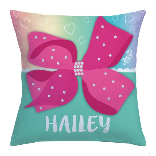 JoJo Siwa Personalized Pink Bow Throw Pillow