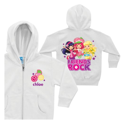 Strawberry Shortcake Friends Rock White Youth Zip-up Hoodie