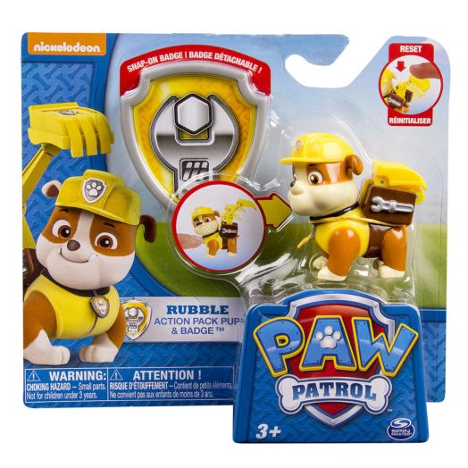 Nickelodeon PAW Patrol Action Pack Pup & Badge - Rubble