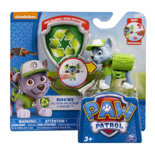 Nickelodeon PAW Patrol Action Pack Pup & Badge - Rocky