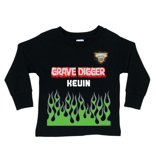 Monster Jam Grave Digger Uniform Black Long Sleeve Tee