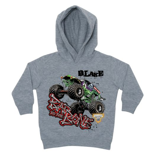 Monster Jam Bad to the Bone Gray Toddler Hoodie
