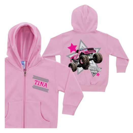 Monster Jam Madusa Pink Zip-Up Toddler Hoodie