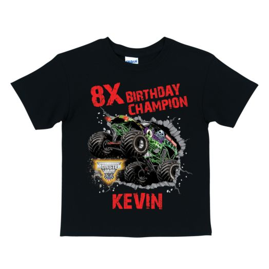 Monster Jam Birthday Champion Black T-shirt
