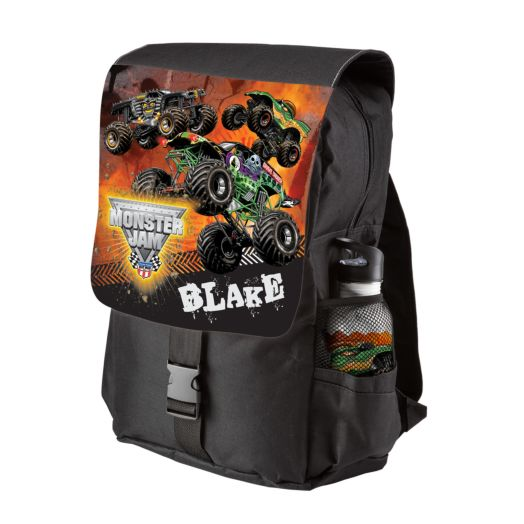 Monster Jam Revved Up Black Youth Backpack