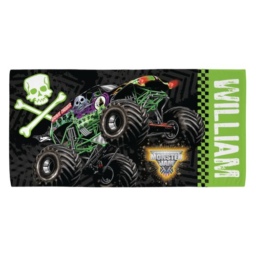 Monster Jam Grave Digger Green Beach Towel