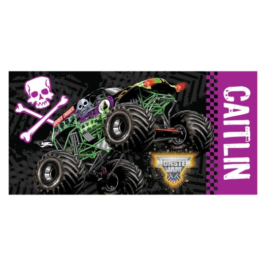 Monster Jam Grave Digger Purple Beach Towel