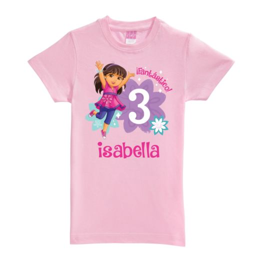 Dora and Friends Birthday Fun Pink Girls Fitted Tee