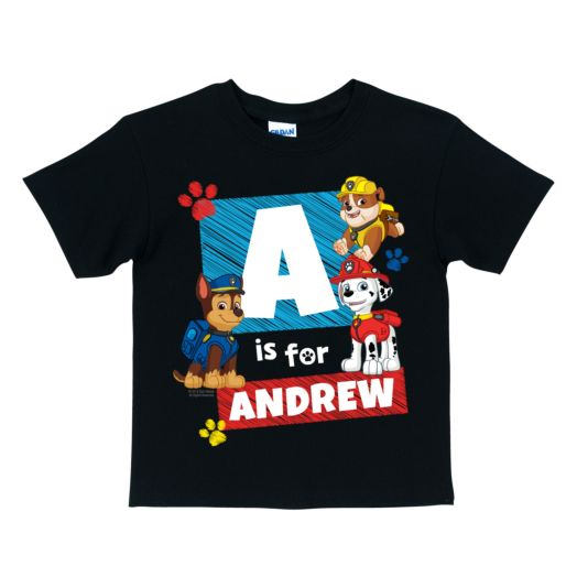 PAW Patrol Marshall, Chase and Rubble Initial Black T-Shirt