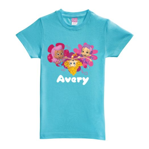 Bubble Guppies Girl Trio Aqua Fitted Tee