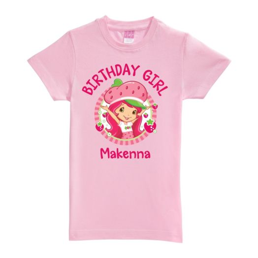 Strawberry Shortcake Birthday Girl Pink Fitted Tee