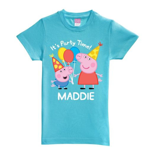Peppa Pig Peppa and George Birthday Aqua Fitted Tee