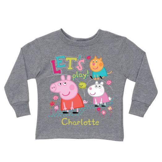 Peppa Pig Let's Play Gray Long Sleeve Tee