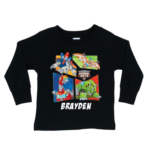 Transformers Rescue Bots Dinobot Black Long Sleeve Tee