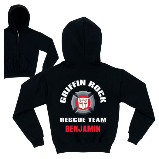 Transformers Rescue Bots Rescue Team Black Zip-Up Hoodie