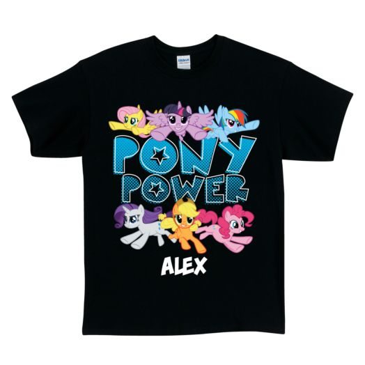 My Little Pony Pony Power Black Adult T-Shirt