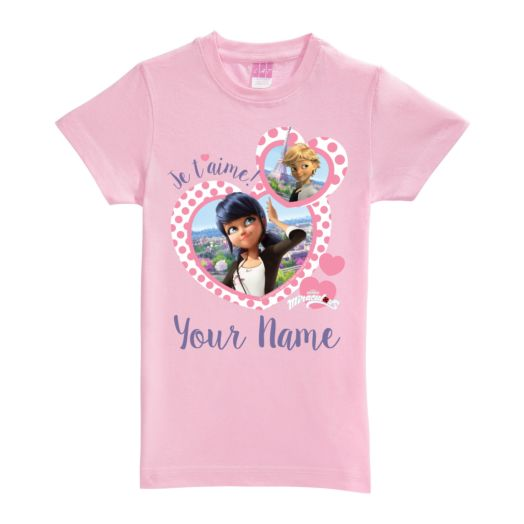 Personalized Miraculous je t'aime Pink Fitted Tee