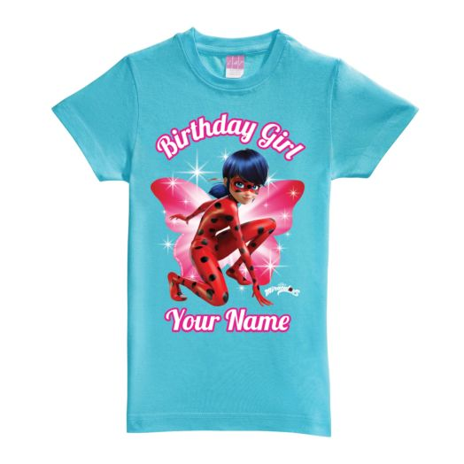 Personalized Miraculous Birthday Girl Aqua Fitted Tee