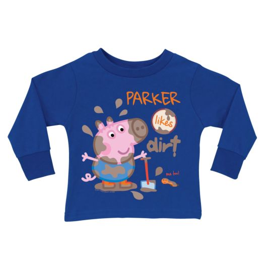 Peppa Pig George Likes Dirt Royal Blue Long Sleeve Tee