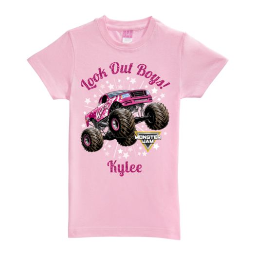 Monster Jam Look Out Boys Madusa Pink Fitted Tee