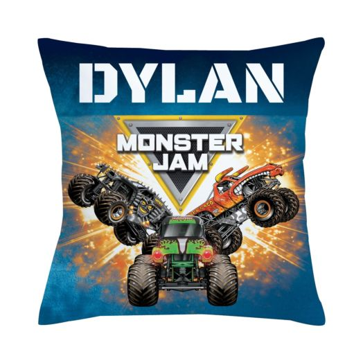 Monster Jam Trucks and Logo Throw Pillow