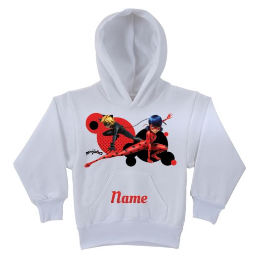 Personalized Miraculous Ladybug and Cat Noir White Youth Hoodie