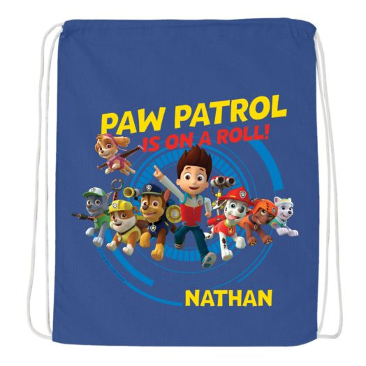 PAW Patrol On a Roll Blue Drawstring Bag
