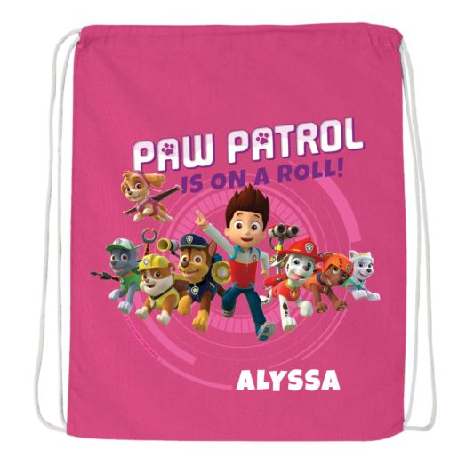 PAW Patrol On a Roll Hot Pink Drawstring Bag