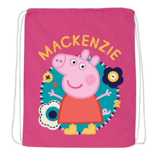 Peppa Pig Flower Fun Hot Pink Drawstring Bag