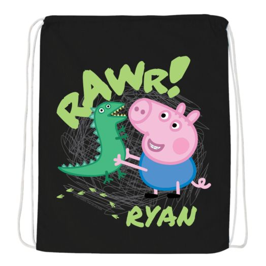 Peppa Pig George Rawr Black Drawstring Bag
