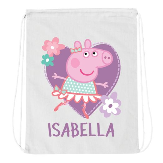 Peppa Pig Ballet White Drawstring Bag