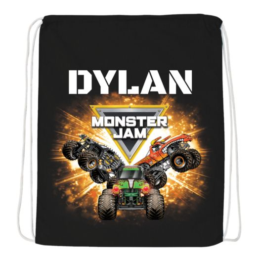Monster Jam Crush Crew Black Drawstring Bag
