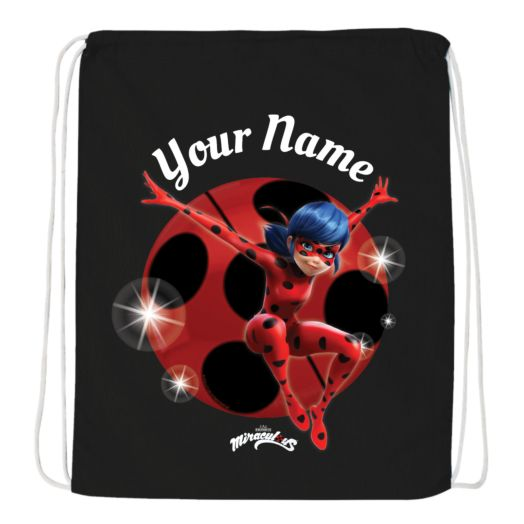 Miraculous Ladybug Black Drawstring Bag