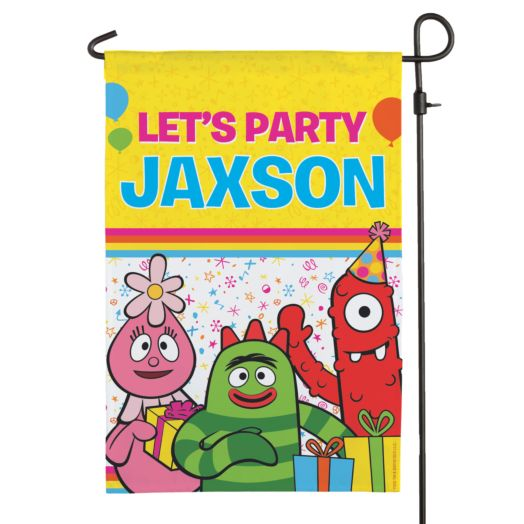 Yo Gabba Gabba Let's Party Birthday Flag