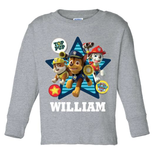 PAW Patrol Top Pup Gray Long Sleeve Tee