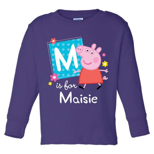 Peppa Pig Alphabet Purple Long Sleeve Tee