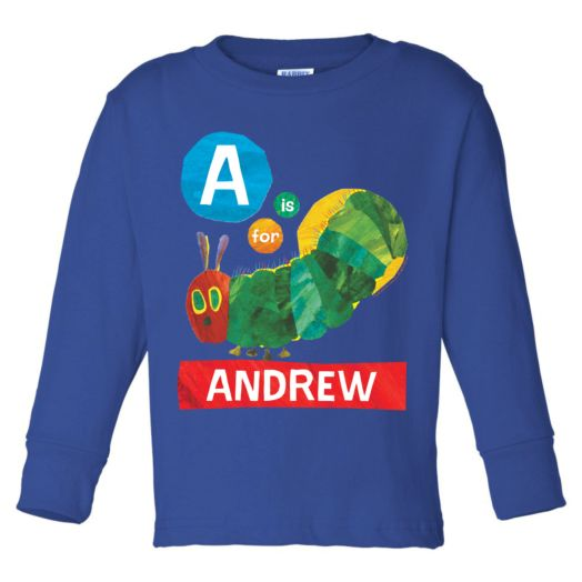 Very Hungry Caterpillar Alphabet Royal Blue Long Sleeve Tee