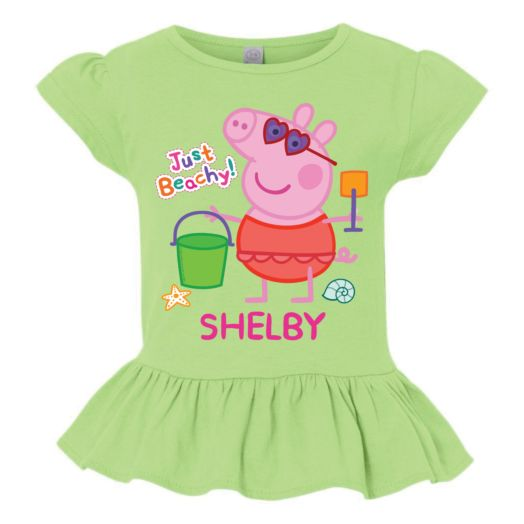 Personalized Peppa Pig Summertime Lime Green Ruffle Tee