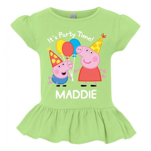 Personalized Peppa Pig Party Time Lime Ruffle Green Tee