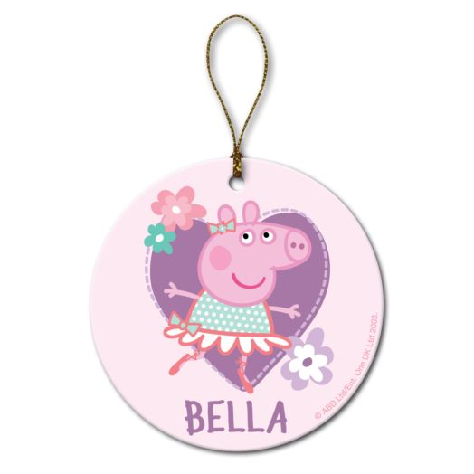 Personalized Peppa Pig Ballerina Round Ornament