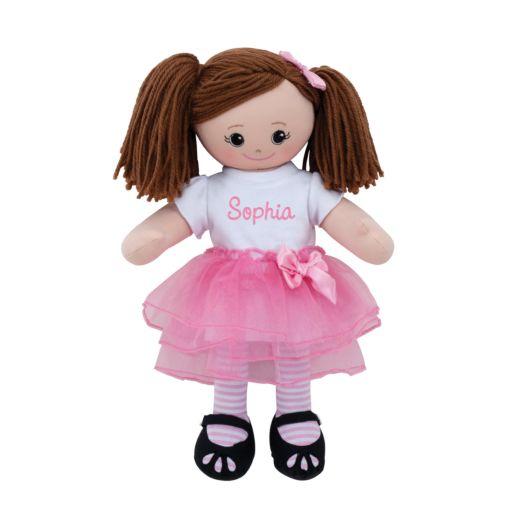 Personalized Brunette Doll With Tutu and Hair Clip