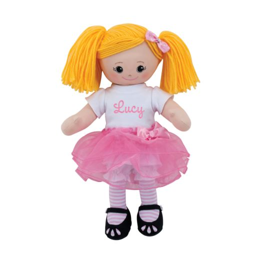 Personalized Blonde Doll With Tutu and Hair Clip