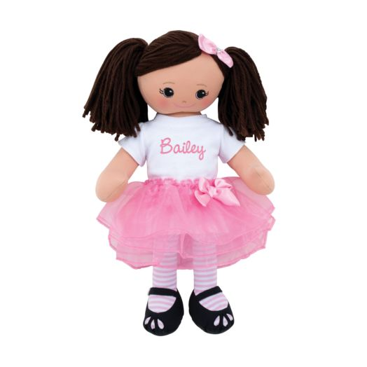 Personalized Hispanic Doll With Tutu and Hair Clip