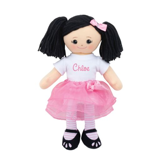 Personalized Asian Doll With Tutu and Hair Clip