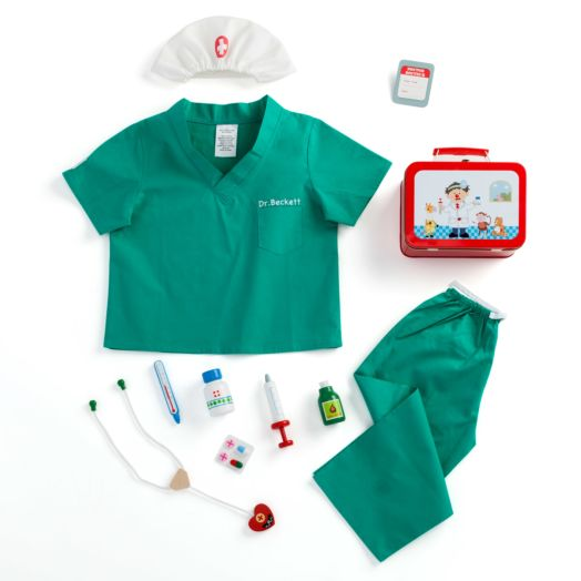 Boy's Personalized Scrubs and Doctor's Kit