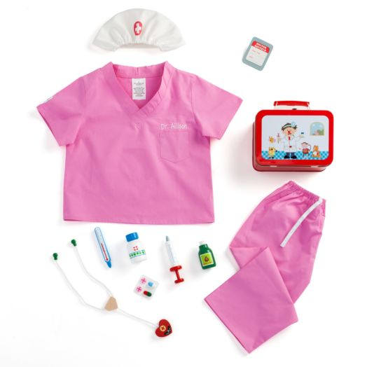 Girl's Personalized Scrubs and Doctor's Kit