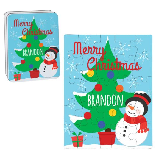 Christmas Tree Personalized Puzzle and Tin