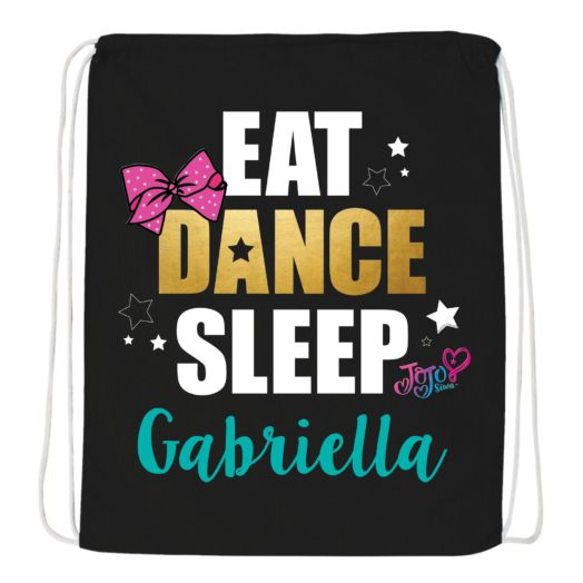 JoJo Siwa Eat Dance Sleep Black Drawstring Bag