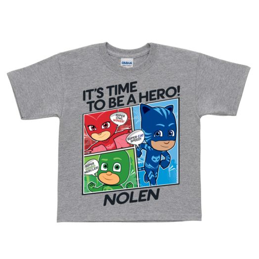 PJ Masks It's Time To Be A Hero Gray T-Shirt