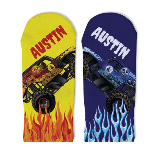 Monster Jam Fire and Ice Toddler Socks